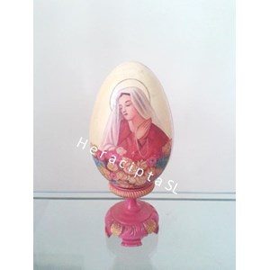 Hiasan Telur Kayu gbr Bunda Maria pink 20cm (EB-11b)