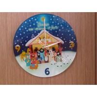 Jual Gwc-6907 # Jam Dinding Kaca Natal