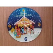Gwc-6907 # Jam Dinding Kaca Natal