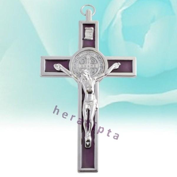 Salib Gantung Benediktus Metal Ungu  Kecil 13Cm Mcr1015p