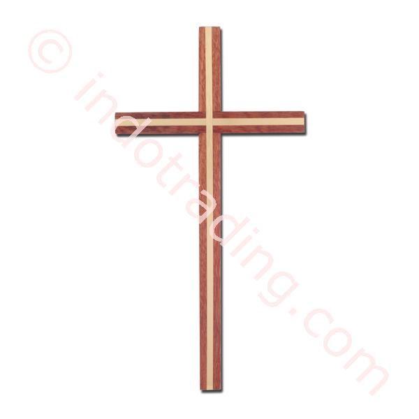 Salib Dinding Kayu Mcr 1642  Lis Metal Kuning 25Cm