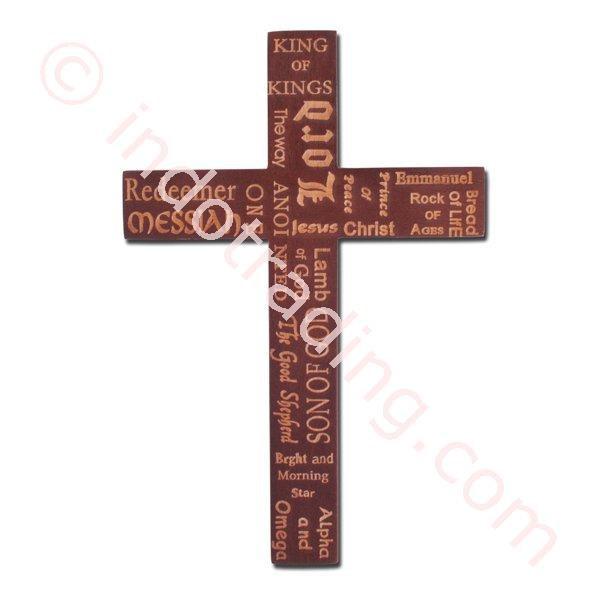 Salib Dinding Kayu  Mcr 1640S  Bertulisan