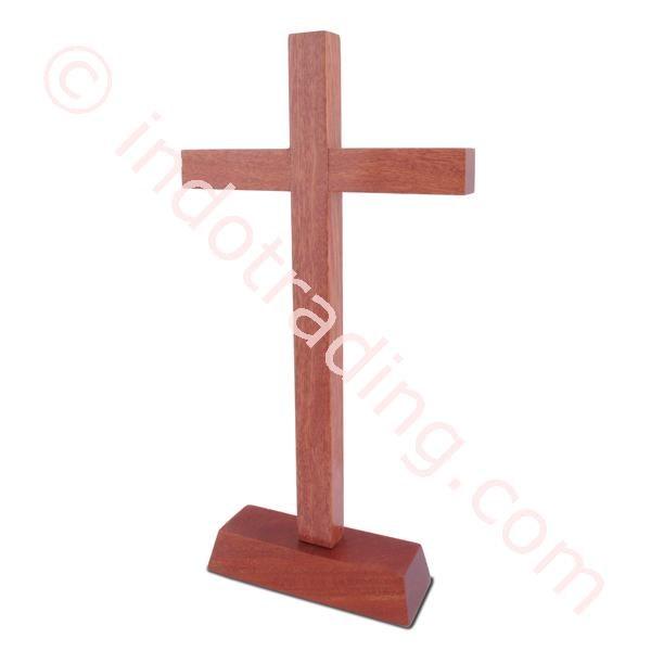 Salib Duduk Kayu Polos Uk Sedang 25Cm Diskon (Mcr-1645)