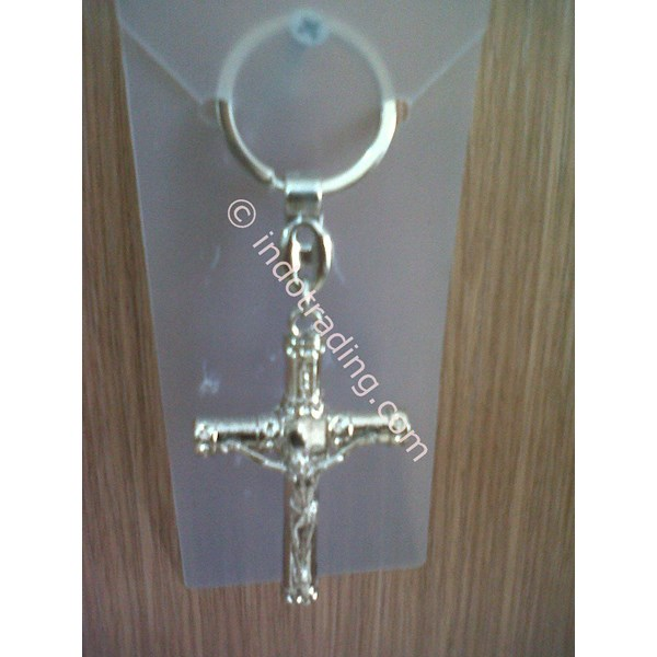 GK-06 Gantungan Kunci Salib silinder corpus silver