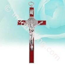 Salib gantung benediktus 11cm merah metal corpus yesus (MCR-1002R)