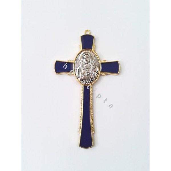 Salib Gantung Kecil Gbr Bunda Maria Biru Enamel Mchs 1710 #