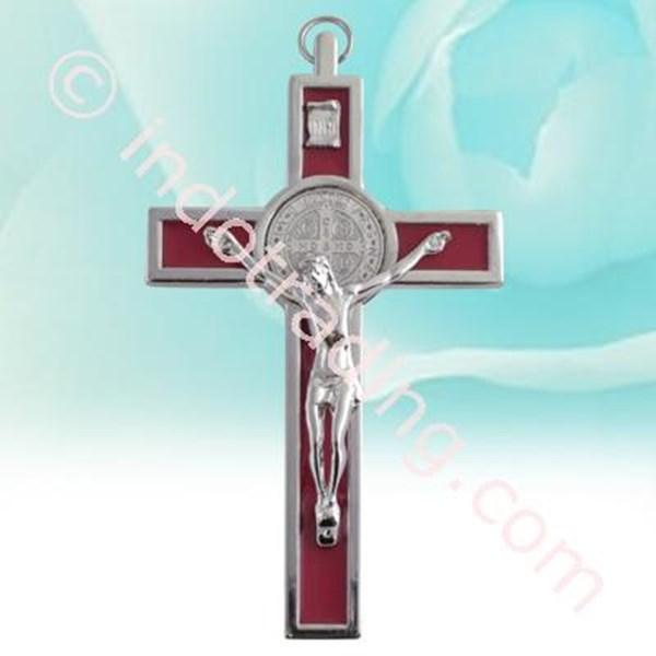 Salib Gantung Benediktus Metal Corpus Merah 13Cm Mcr-1015R