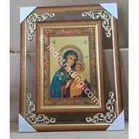 Frame Maria (jubah biru) & Kanak2 Yesus latar emas 45cm (WDF-06)