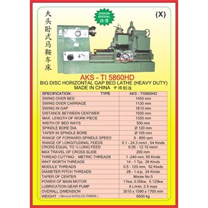 MESIN BUBUT Heavy Duty Horizontal Lathe TI5860HD