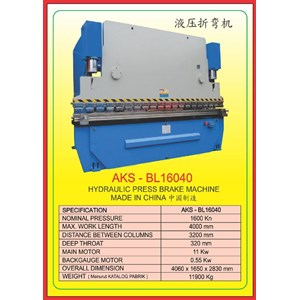 Mesin Press Press Brake BL16040