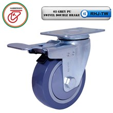 Roda Kaster Polyurethane RHJ-TW 03 Grey PU Swivel Double Brake