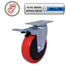 Roda Troli RHJ-TW 03 PU Swivel Double Brake