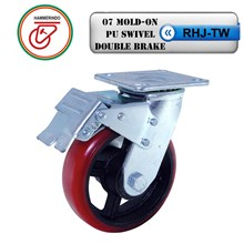 Roda Troli RHJ-TW 07 Mold-On PU Swivel Double Brake