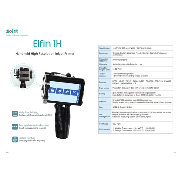 Elfin IH Handheld High Resolution Inkjet Printer