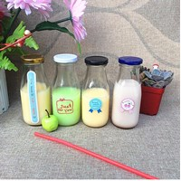 P063 300Ml Juice Glass Bottle With Metal Lid