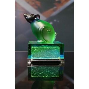 Hiasan Patung Kristal Coloured Glaze Shio Tikus