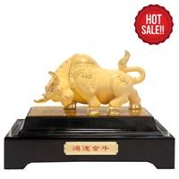 Patung Lapis Emas  24K Badak Keberuntungan (Ox-Lucky) Pajangan Lapis Emas Souvenir Hadiah