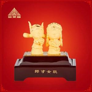 Patung Pajangan Souvenir Pernikahan Perfect Couple Lapisan Emas 24K