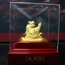 Display 12Shio Rat Statue 24 k Gold Coating Souven