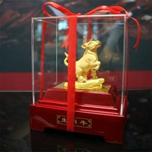 12Shio Cow Sculpture display Souvenirs Gold 24 k