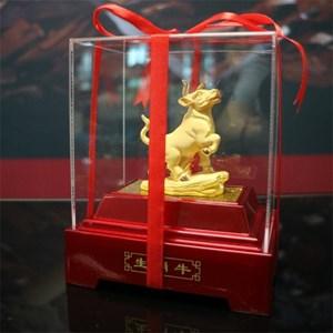Pajangan 12Shio Patung Sapi Souvenir Lapisan Emas 24K