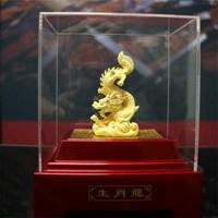 Pajangan 12Shio Patung Naga Souvenir Lapisan Emas 24K