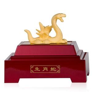 Pajangan 12Shio Patung Ular Souvenir Lapisan Emas 24K