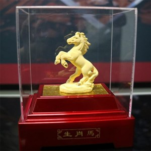 Display 12Shio Statue Mares Souvenir Gold 24 k