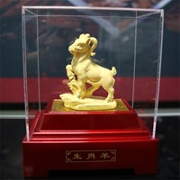 Pajangan 12Shio Patung Kambing Souvenir Lapisan Emas 24K