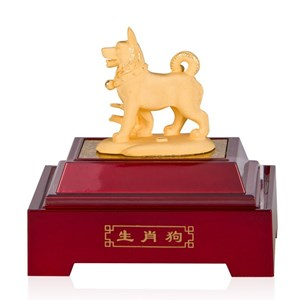 Pajangan 12Shio Patung Anjing Souvenir Lapisan Emas 24K