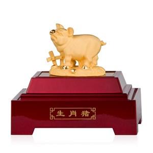 Pajangan 12Shio Patung Babi Souvenir Lapisan Emas 24K