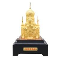 Souvenir Kostum Bentuk Gereja Sovia Lapisan Emas 24K