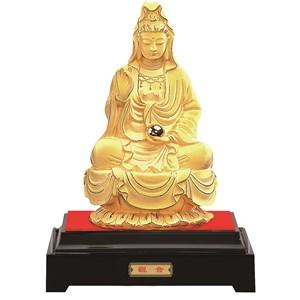 Patung Dewi Kwan In Lapisan Emas 24K