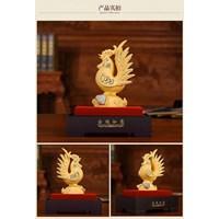 Patung Pajangan Ayam Lapisan Emas 24K Ukuran S