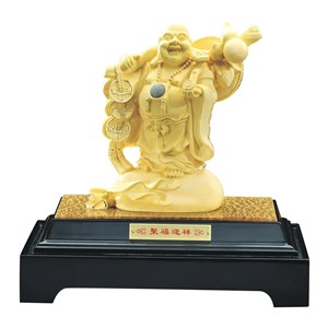 Pajangan Patung Budha Mi Le Lapisan Emas 24K Ju Fu Yin Xiang
