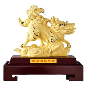 Pajangan Patung Qi Lin Lapisan Emas 24K