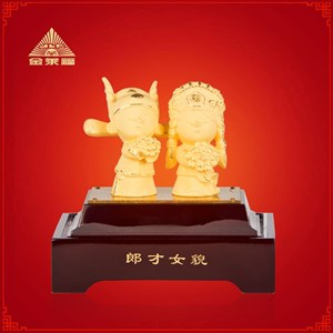Souvenir Pernikahan Patung Boneka Lapisan Emas Dekorasi Rumah