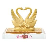 Patung Tembaga Lapis Emas 24K Angsa Couple
