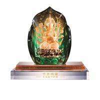 Patung Tembaga  Lapis Emas 24K Kwan Im Tangan Banyak
