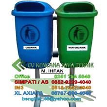 Tong Sampah Fiber 2 In 1 - Tong Sampah Fiber 2 Sisi - Managemen Limbah