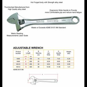 Kunci Inggris Adjustable Wrench OSTEQ