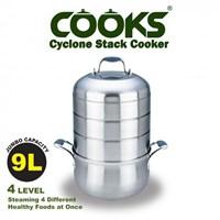 Jual Homzace Cooks Cyclone Stack Cooker - Panci Pengukus 4 Susun 9L 2