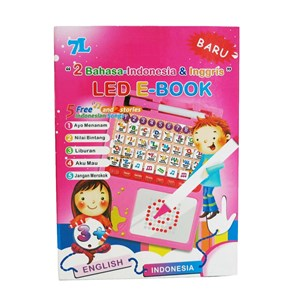 7L - Mainan Edukasi Led E-Book - Pink