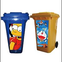 Jual Tempat Sampah Plastik Custom Stiker Kartun