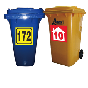 Tempat Sampah Plastik Custom Stiker Nomor Rumah