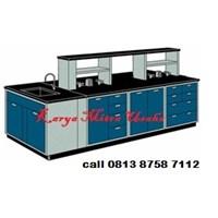 Meja Laboratorium Meja Lab Tengah dengan Sink dan Rak 1