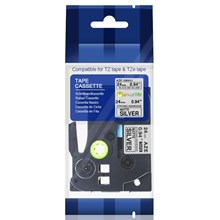 TZE-SM951 Strong Adhessive Black On Matte Silver 24mm Brother Label Tape