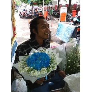 bunga tangan hydrangea biru