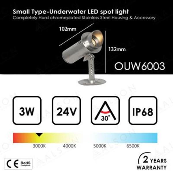Lampu Kolam Renang LED Underwater 3 Watt OUW6003