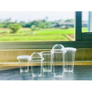 Gelas Plastik Tutup Dome / Flat